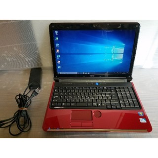 フジツウ(富士通)の富士通 ノートパソコン Windows10 エクセル、ワード、DVDマルチ(ノートPC)