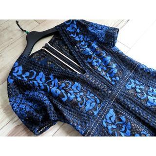 ビーシービージーマックスアズリア(BCBGMAXAZRIA)の美品 BCBG レース 刺繍 ワンピース 06 ドレス ブラック ブルー(ひざ丈ワンピース)