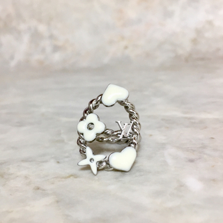 ルイヴィトン(LOUIS VUITTON)の正規品 ヴィトン 指輪 スウィートモノグラム ハート フラワー 花 銀白 リング(リング(指輪))