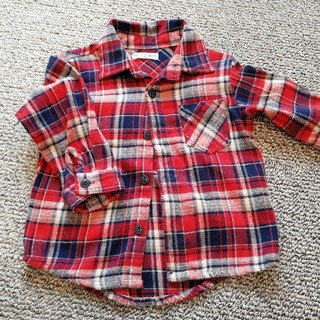 しまむら - 赤×青チェックネルシャツ 80