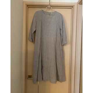 ムジルシリョウヒン(MUJI (無印良品))の洗いざらしフレンチリネン七分袖ワンピース(ひざ丈ワンピース)