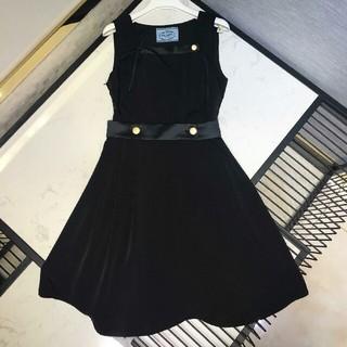 2eb2646f22290 プラダ(PRADA)のプラダ レディース ワンピース ドレス 袖無し ブラック(ひざ丈ワンピース