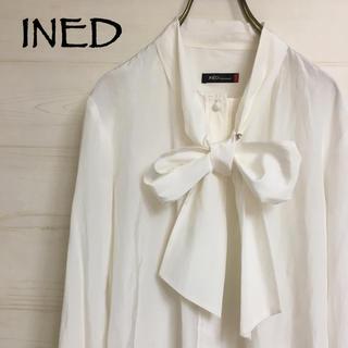 INED - INED ☆ イネド シルク混 ボウタイブラウス リボン シャツ