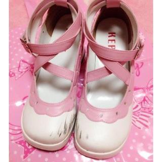 ミルク(MILK)の♡KERA 甘ロリィタ厚底おでこ靴 レース いちごミルク ピンク L ♡(ローファー/革靴)
