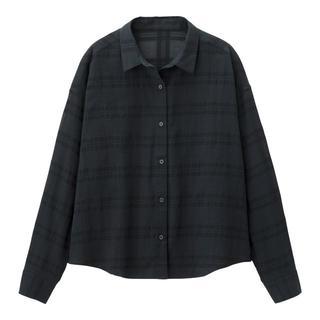 ジーユー(GU)の新品 未開封 XXL ネイビーシアーチェックシャツ(長袖) 匿名配送(シャツ/ブラウス(長袖/七分))