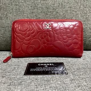 ec31972f989a シャネル(CHANEL)のシャネル カメリア 赤 ラウンドファスナー 長財布(財布)
