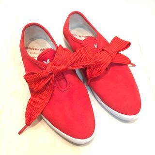 美品Adidas original★赤フラットシューズ 24cm