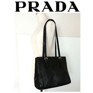 0f5792098619 プラダ(PRADA)の美品 プラダ レザー トートバッグ ショルダーバッグ 黒 レディース メンズ