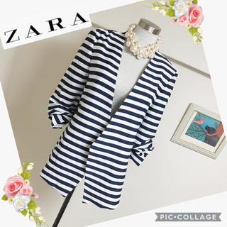 ZARA - 未使用タグ付ザラのノーカラーボーダージャケット(M)