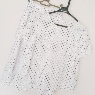 ジーユー(GU)のGU ドット柄ブラウス×スカート(シャツ/ブラウス(半袖/袖なし))