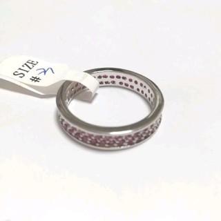 シルバー925 オラオラ系リング 23号 赤色CZ(リング(指輪))