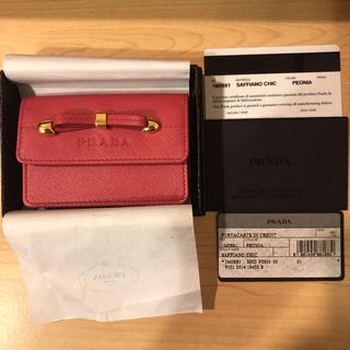 2135b9565d7b PRADA - プラダ PRADA 名刺入れ カードケース コインケース リボン 赤 ピンク