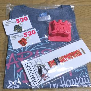 ジャニーズ(Johnny's)の新品 嵐5x20チャームと嵐BLASTinHawaiiTシャツとネックストラップ(アイドルグッズ)