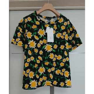 ca4160e622fc3 ザラ(ZARA)のZARA ザラ クルーネック 花柄 フラワー プリント Tシャツ 半袖