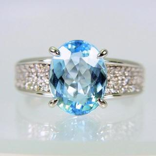 Pt900 天然アクアマリン ダイヤモンド リング 15号[f452-1](リング(指輪))