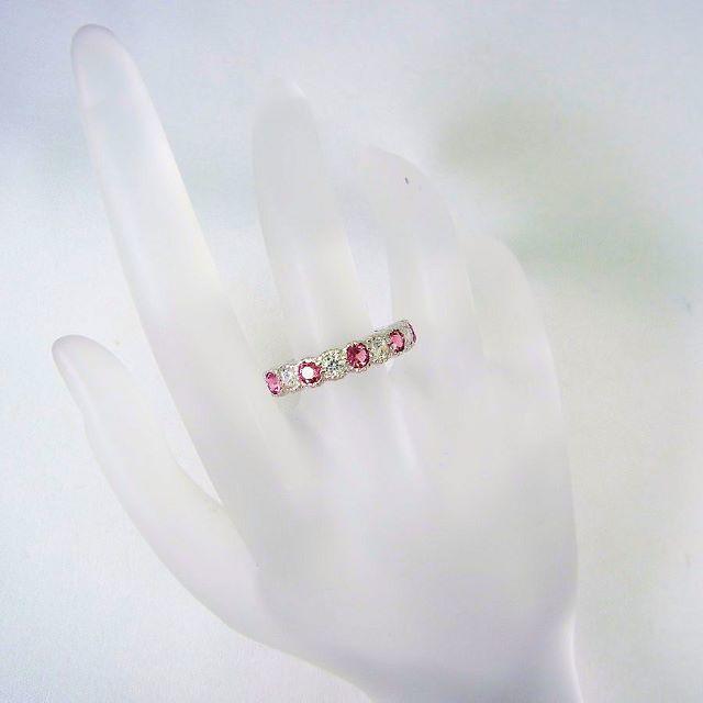 K14WG ピンクトルマリン CZ リング 20号[f451-65] レディースのアクセサリー(リング(指輪))の商品写真