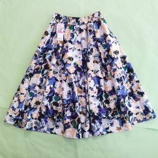 シマムラ(しまむら)の新品!タグ付き!素敵♡フレアスカート(水彩·花柄·ブルー系)♡レディースMサイズ(ひざ丈スカート)