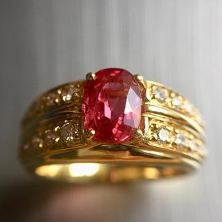 紫様 専用です!「レッドスピネル」1.503ct 18金 指輪!(リング(指輪))