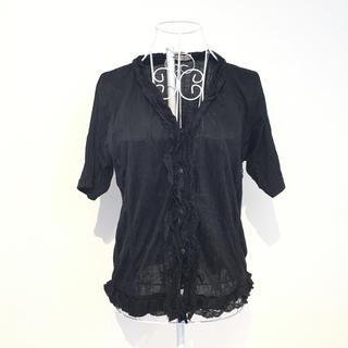 SERENADE レースフリル 半袖 ブラウス ブラック(シャツ/ブラウス(半袖/袖なし))