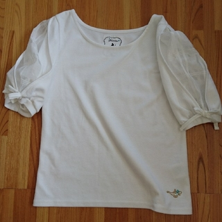 シマムラ(しまむら)の《透け感のあるチェック袖半袖》リボン付き。(カットソー(半袖/袖なし))