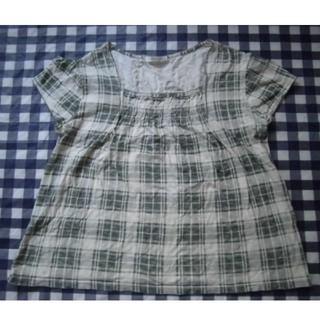 チェックカットソーシャツ LL  グリーンベージュ (カットソー(半袖/袖なし))
