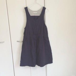 サマンサモスモス(SM2)の紺/紫ジャンパースカート(ひざ丈ワンピース)