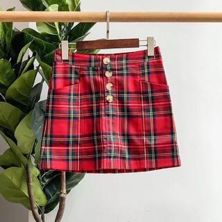 バーバリー(BURBERRY)のBurberry バーバリー 赤のチェック柄(ミニスカート)