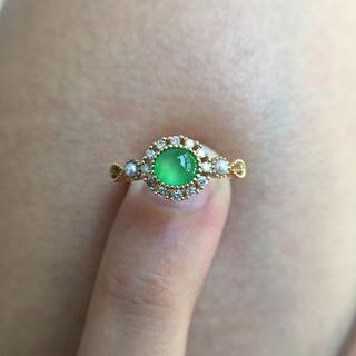 63 k18ゴールドリング 翡翠リング シンプル ダイヤモンドリング 指輪 お(リング(指輪))