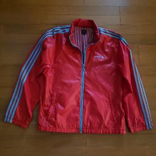 アディダス(adidas)のadidas アディダス ウインドブレーカー 赤×水色 L ジャージ ストライプ(ナイロンジャケット)