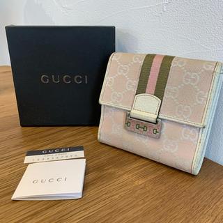 3dd4b7edd046 グッチ(Gucci)のグッチ GUCCI 二つ折り財布 GG柄 ピンク レザー キャンバス 正規