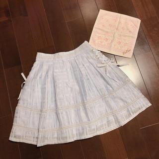 リズリサ(LIZ LISA)の【おまけローズ柄タオル付き】LIZLISA♡パステルブルースカート♡サイドリボン(ひざ丈スカート)