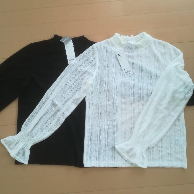 GU(ジーユー)の【新品タグ付き】GU フリルネックT レディースのトップス(Tシャツ(長袖/七分))の商品写真