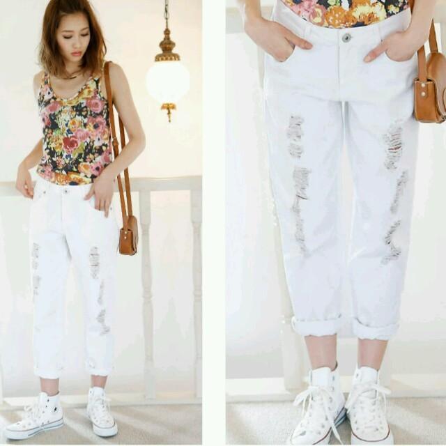 新品☆ホワイトダメージボーイズデニム  レディースのパンツ(デニム/ジーンズ)の商品写真