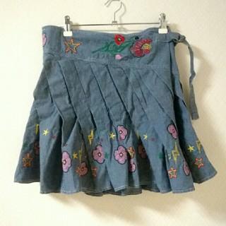 スカラー(ScoLar)のスカラー デニム刺繍スカート 変形(ミニスカート)