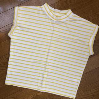 ジーユー(GU)のGU♡ジーユー♡ボーダー半袖トップス♡ホワイト&イエロー♡首つまりTシャツ♡美品(Tシャツ(半袖/袖なし))