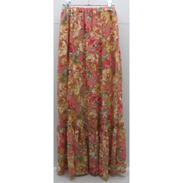 ByeBye(バイバイ)の*0816・ByeBye バイバイ ロングスカート コーラルピンク系 花柄 レディースのスカート(ロングスカート)の商品写真
