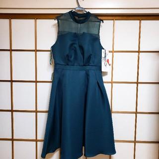 ニッセン(ニッセン)のシースルースタンドネックドレス(ミディアムドレス)