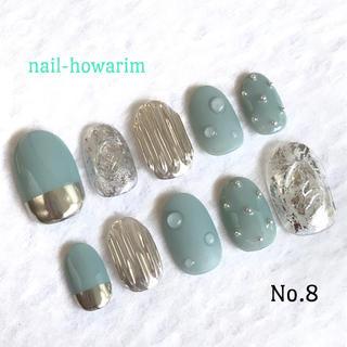 ジェルネイルチップ ニュアンスネイル 水滴ネイル ミラーネイル ハンドメイドのアクセサリー(ネイルチップ)の商品写真