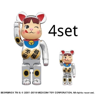 MEDICOM TOY - 【4set】BE@RBRICK 招き猫 ペコちゃん銀メッキ100%&400%