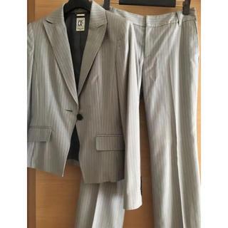ミッシェルクラン(MICHEL KLEIN)のMICHEL KLEIN グレーストライプ パンツスーツ(スーツ)