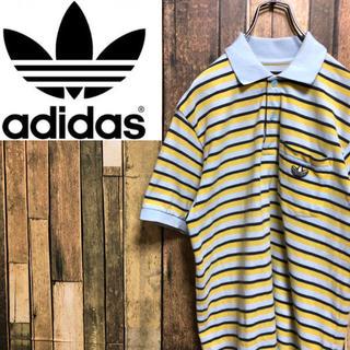 アディダス(adidas)の【激レア】アディダスオリジナルス☆トレフォイル刺繍ロゴボーダーポロシャツ 90s(ポロシャツ)