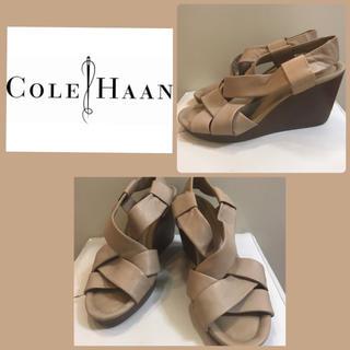 コールハーン(Cole Haan)のコールハーン×ナイキエア グレーレザー ウエッジサンダル(サンダル)