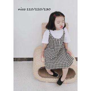 キャミソールワンピース 110 ギンガムチェック   韓国子供服(ワンピース)