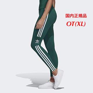 アディダス(adidas)の【レディースOT(XL)】緑  トレフォイル 3ライン   レギンス    (レギンス/スパッツ)