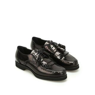 トッズ(TOD'S)のトッズ タッセル付きレースアップシューズ ブラック37.5(ローファー/革靴)