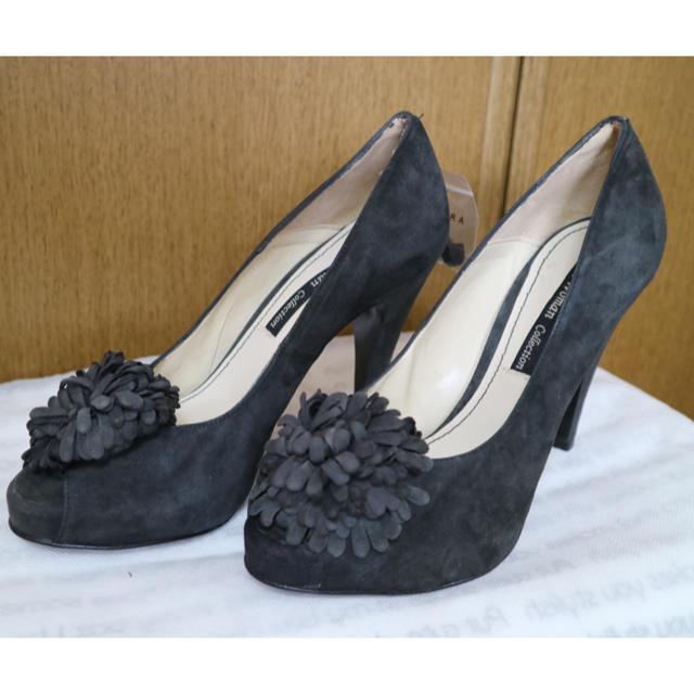 ZARA(ザラ)のZARA ハイヒール パンプス グレー スウェード 24.5cm 美品 レディースの靴/シューズ(ハイヒール/パンプス)の商品写真