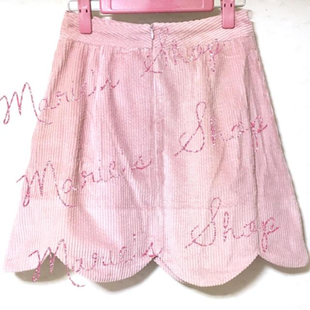 evelyn(エブリン)のエブリン フラワー パール ビジューボタン スカラップ スカート ピンク レディースのスカート(ミニスカート)の商品写真