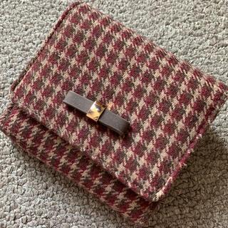 マジェスティックレゴン(MAJESTIC LEGON)のブラウンチェック 折り畳み財布 リボン(財布)