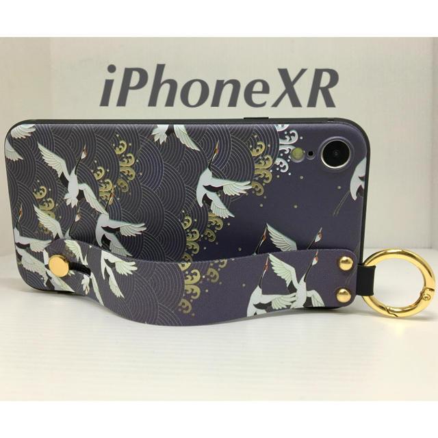 iPhoneXR アイフォンXRケース☆カラビナ付き☆背面ベルト☆送料込☆和柄鶴の通販 by ロゴ's shop|ラクマ