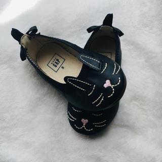 ベビーギャップ(babyGAP)のbabyGAP 黒紺色 うさぎ 靴(フラットシューズ)
